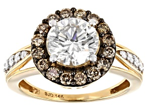 Moissanite and champagne diamond 14k yellow gold ring 2.60ctw DEW.