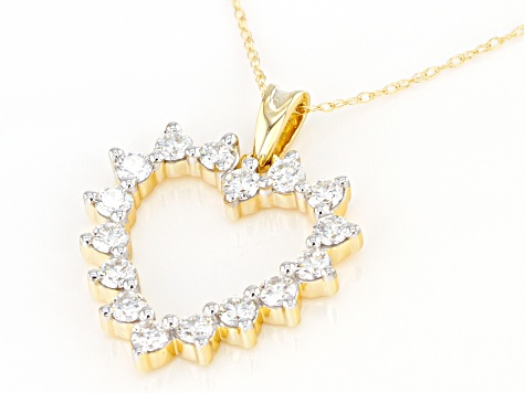 Moissanite 14k yellow gold heart pendant .96ctw DEW.