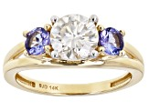 Moissanite and tanzanite 14k yellow gold ring 1.20ct DEW