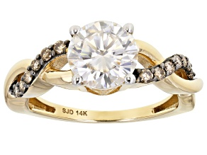 Moissanite and champagne diamond 14k yellow gold ring 1.90ct DEW
