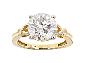 Moissanite 14k yellow gold ring 3.60ct DEW.