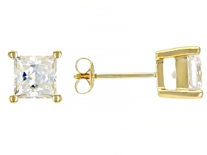 Moissanite 14k yellow gold stud earrings 1.80ctw DEW.