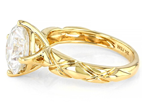 Moissanite 14k yellow gold solitaire ring 3.60ct DEW.