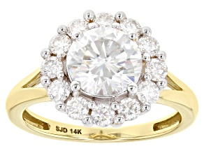 Moissanite 14k Yellow Gold Ring 2.62ctw DEW.