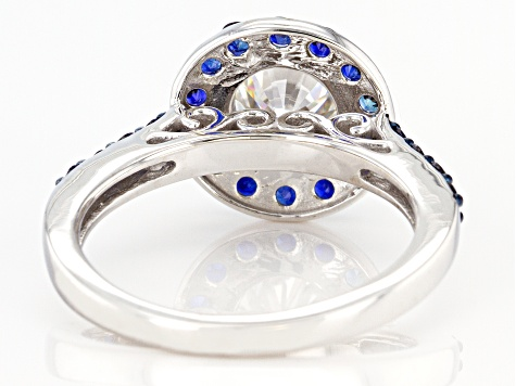 Moissanite And Blue Sapphire 14k White Gold Ring 1.20ctw DEW.