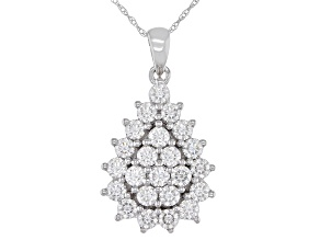 Moissanite 14k White Gold Pendant 1.38ctw DEW.