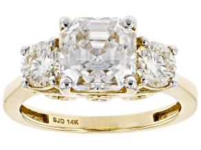 Moissanite 14k Yellow Gold Ring 4.00ctw DEW.