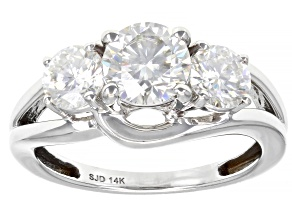 Moissanite 14k White Gold Ring 2.00ctw DEW.