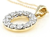 Moissanite 14K Yellow Gold Circle Pendant .72ctw DEW.