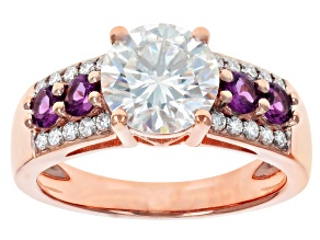 Moissanite and rhodolite 14k rose gold ring 2.10ctw DEW.