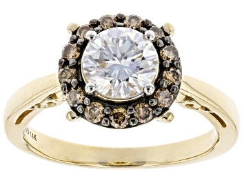 Picture of Moissanite and Champagne Diamond 14k Yellow Gold Ring 1.00ct DEW.