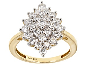 Moissanite 14k Yellow Gold Ring 1.42ctw DEW.
