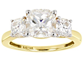 Moissanite 14k Yellow Gold Ring 3.64ctw DEW.