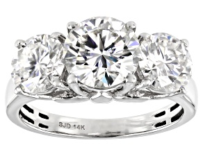 Moissanite 14k white gold ring 3.90ctw DEW.