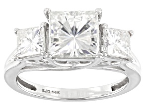 Moissanite 14k white gold ring 3.70ctw DEW.