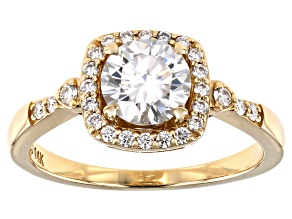 Moissanite 14k yellow gold ring 1.28ctw DEW.