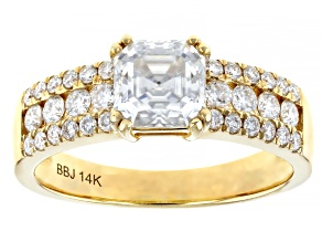 Moissanite 14k yellow gold ring 1.78ctw DEW.