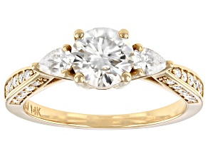 Moissanite 14k yellow gold ring 1.48ctw DEW.