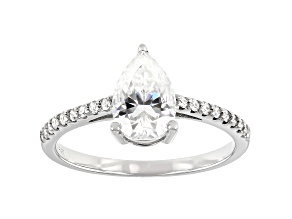 Moissanite 14K White Gold Ring 1.66ctw DEW.