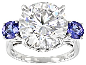 Moissanite and tanzanite 14k white gold ring 8.19ctw DEW.