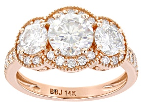 Moissanite 14k rose gold ring 2.84ctw DEW.