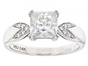 Moissanite 14k white gold ring 1.80ctw DEW.