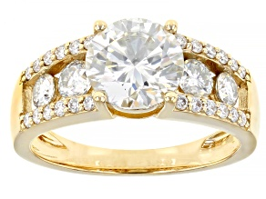 Moissanite 14k yellow gold ring 2.66ctw DEW.