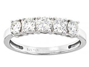Moissanite 10k White Gold Ring .80ctw DEW.