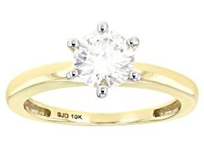 Moissanite 10k yellow gold ring 1.00ct DEW