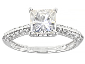 Moissanite 10k white gold ring 2.14ctw DEW.