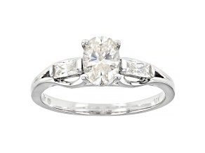 Moissanite 10k white gold ring 1.08ctw DEW.