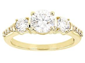 Moissanite 10k yellow gold ring 1.54ctw DEW.