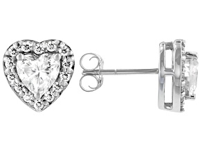 Moissanite 10k white gold earrings 1.48ctw DEW.