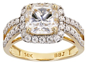 Moissanite 14k yellow gold ring 3.16ctw DEW.