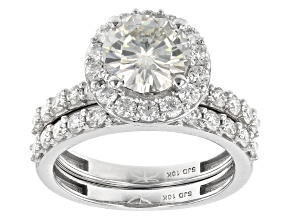 Moissanite 10k white gold ring with band 3.07ctw DEW.