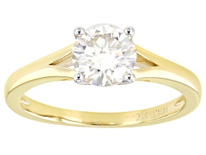 Moissanite 3k yellow gold solitaire ring 1.00ct DEW.