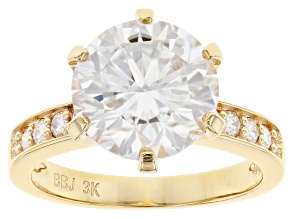 Moissanite 3k yellow gold ring 4.44ctw DEW
