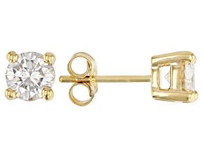 Moissanite 3k yellow gold stud earring 1.20ctw DEW.