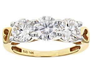 Moissanite 14k Yellow Gold Ring 2.40ctw D.E.W
