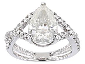 Moissanite 10K white gold engagement ring 3.30ctw DEW