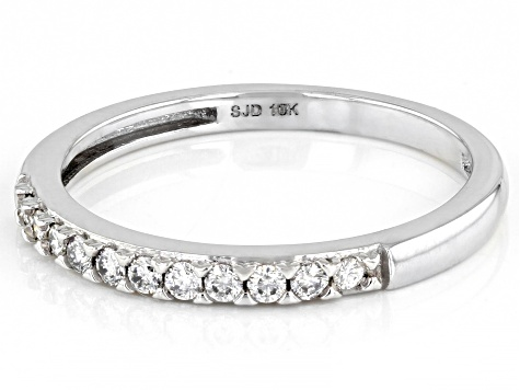 Moissanite 10K white gold band ring .22ctw DEW