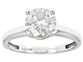 Moissanite 10K white gold solitaire ring 1.50ct DEW