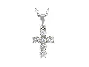 Moissanite 10k white gold cross pendant .60ctw DEW