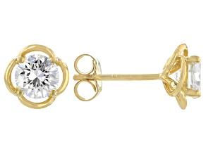 Moissanite 3k yellow gold stud earring 1.20ctw DEW