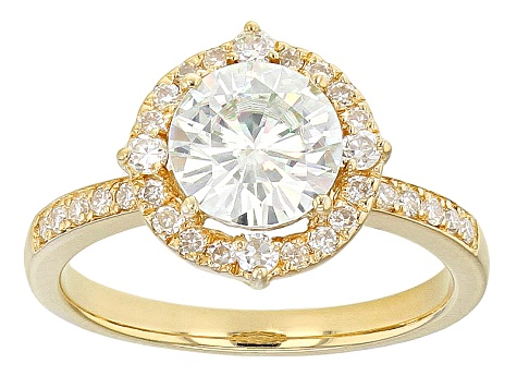 Moissanite Fire® 1 90ctw Diamond Equivalent Weight Round 14k Yellow Gold  Over Sterling Silver Ring