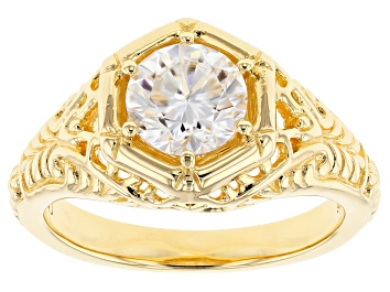 Picture of Moissanite 14k Yellow Gold Over Silver Ring 1.00ct DEW
