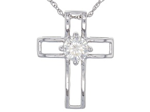 Moissanite Platineve Cross Pendant .50ct D.E.W.
