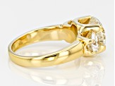 Moissanite 14k Yellow Gold Over Silver 3 Stone Ring 4.30ctw DEW