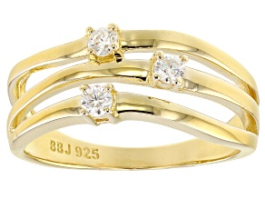 Moissanite Ring 14 Yellow Gold Ovr Silver .18ctw DEW