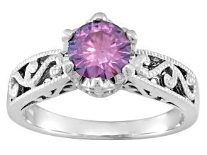 Purple Moissanite platineve ring 1.00ctw DEW